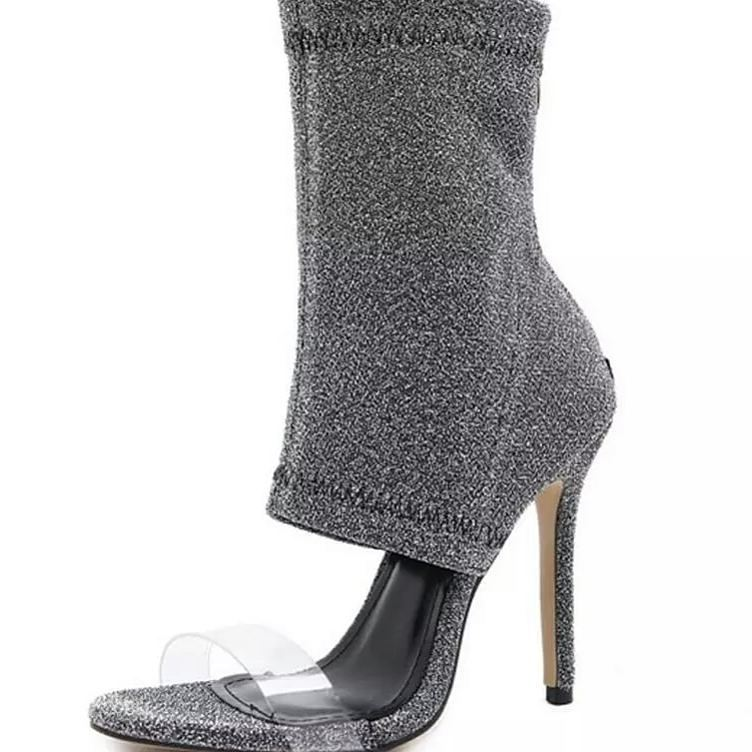 Striking Grey Ankle Length High Heel Shoes