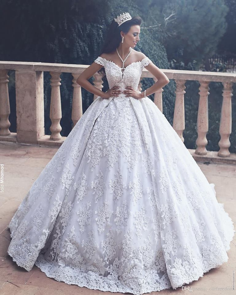 Striking Off Shoulder Embroidered Princesses Style Bridal Gown