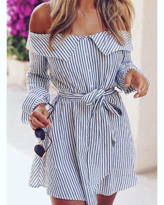 Stripes Off The Shoulder With Sunglasses