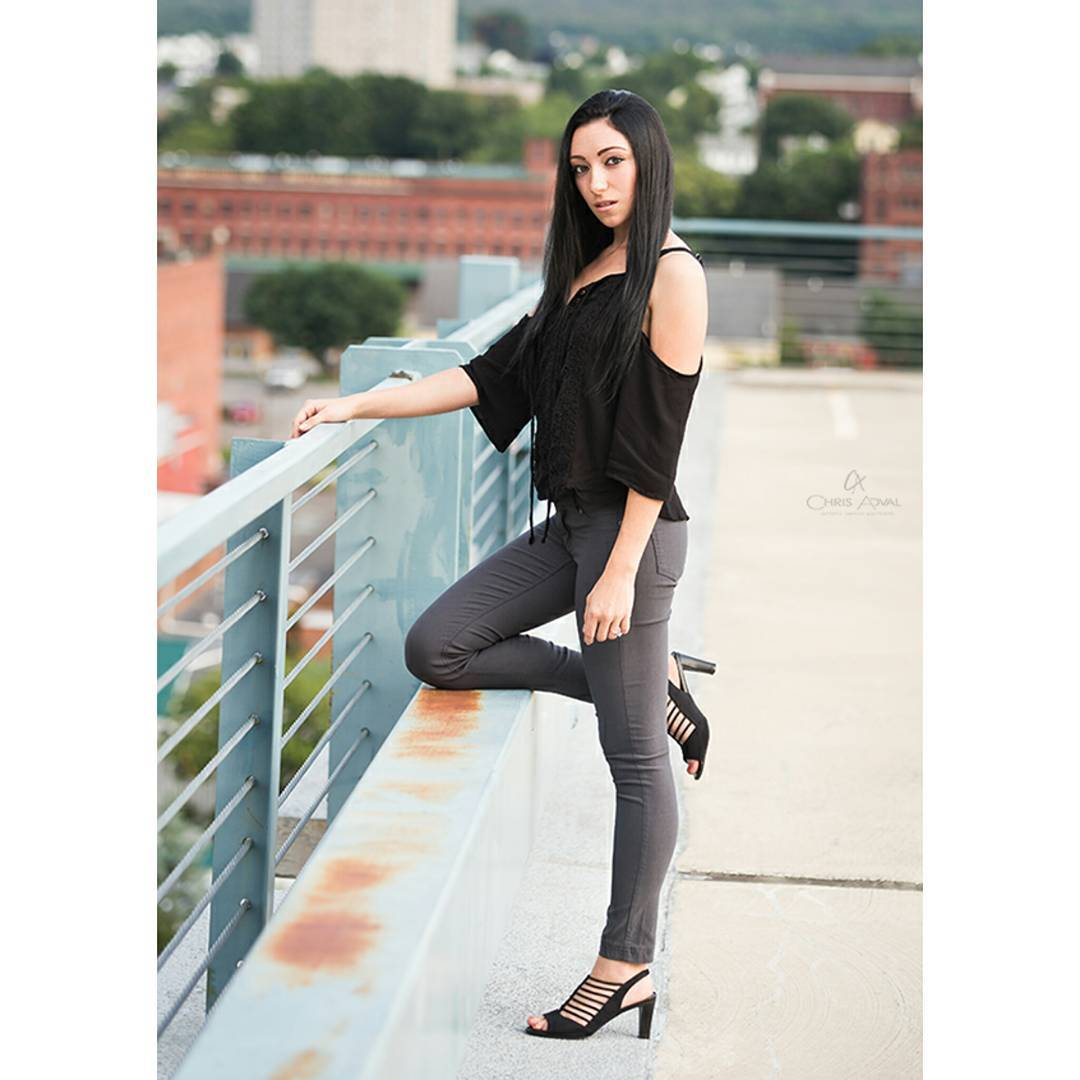 Stunning Black Top With Grey Jeans