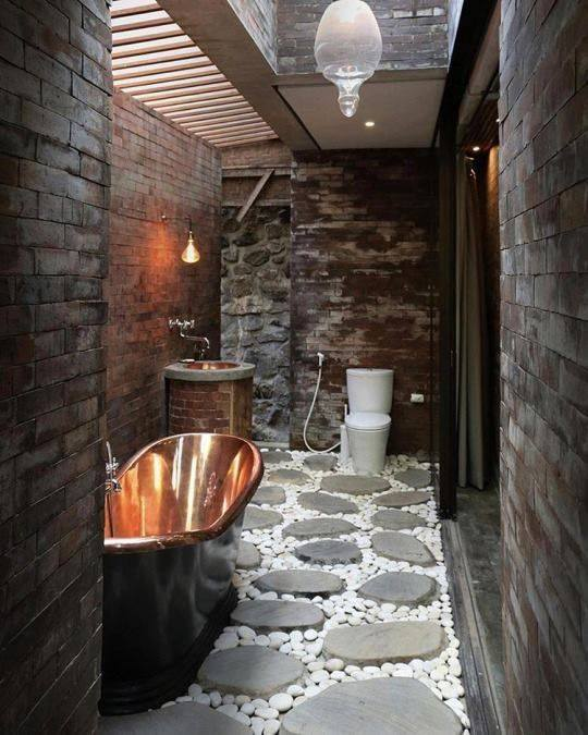 Stunning Rustic Master Bathroom With Copper Bathtub, Sink And Stone Flooring