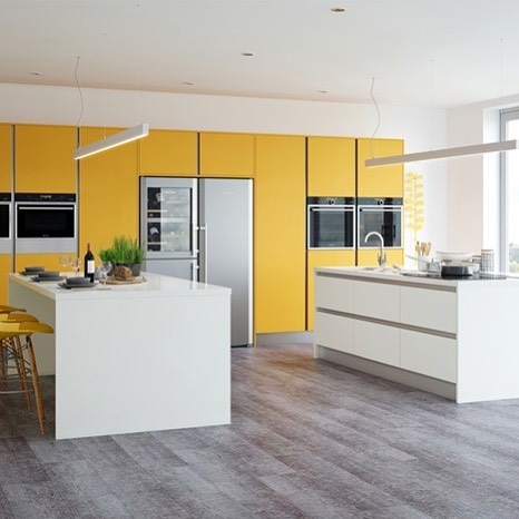Two-Toned Acrylic Matte Finish Cabinet Doors In Contemporary Kitchen