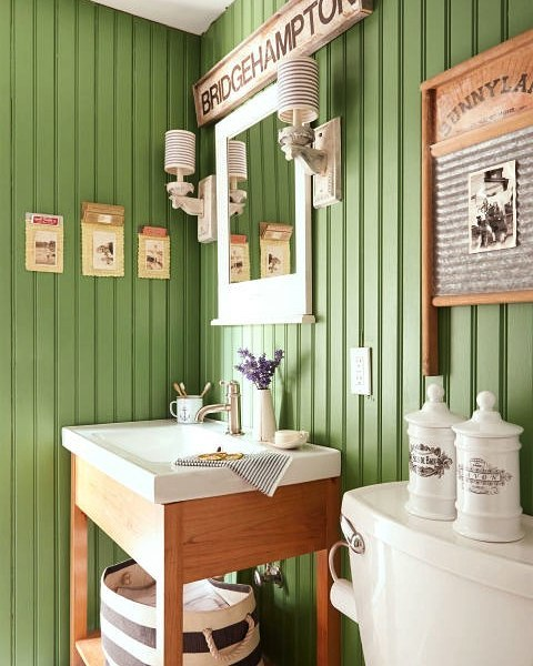 Ultimate Rustic Bathroom Painted In Green