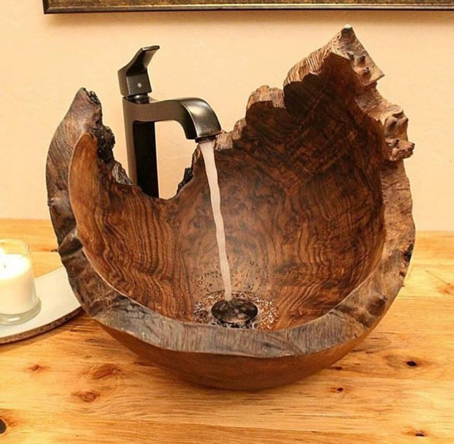 Unique Wooden Sink That Is Made From A Walnut Burl