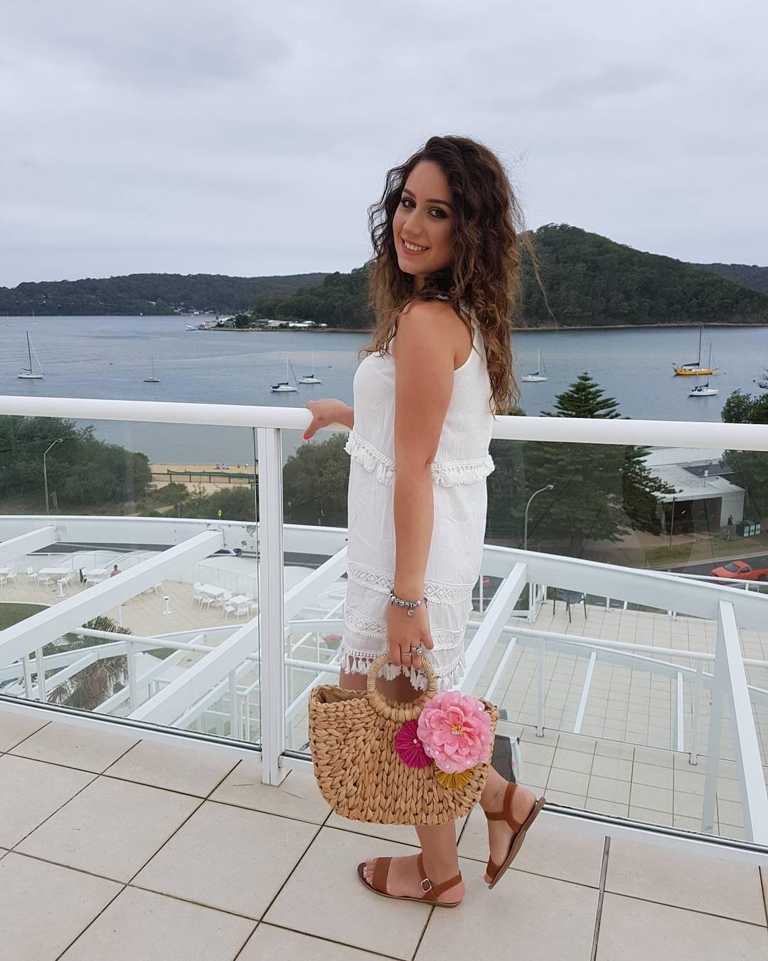 Vibrant Cotton White Summer Dress With Cute Jute Bag