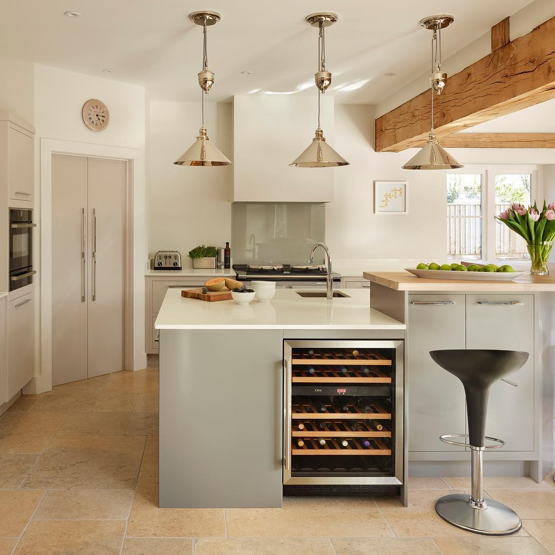 Vibrant Linear Kitchen Has Bespoke Island And Wine Chiller