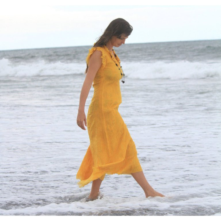 Yellow Silk Summer Dress For Beach Party