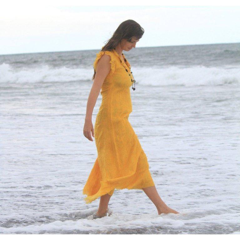 Yellow Silk Summer Dress For Beach Party