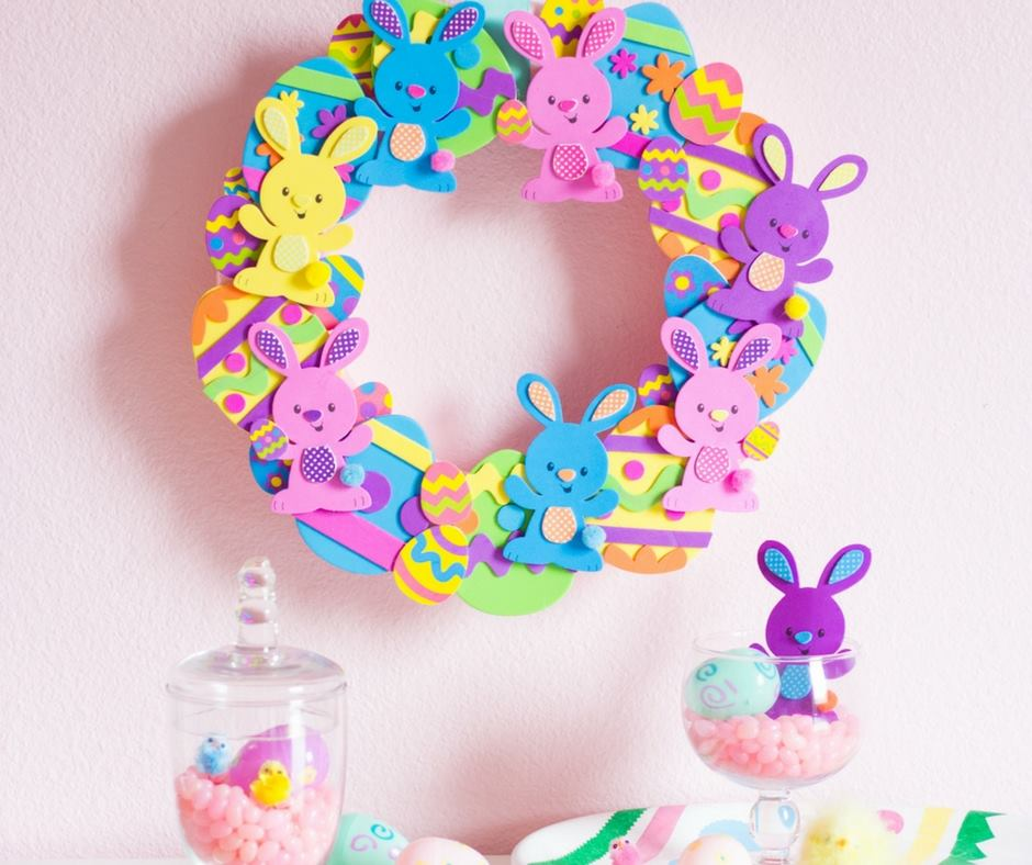 Adorable Colorful Bunny Wreath Craft