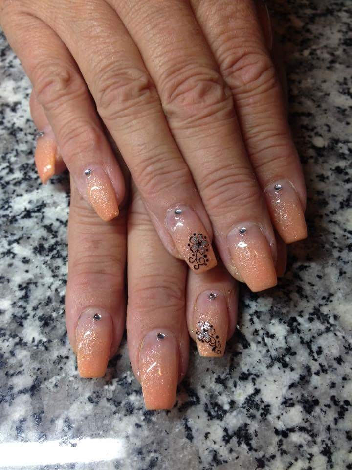 Adorable Nude Glossy Peach Flower and Crystal Spring Nail Art