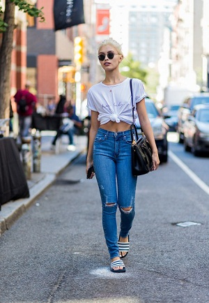 Adorable White Tied-Up Top Paired With High-Waisted Jeans
