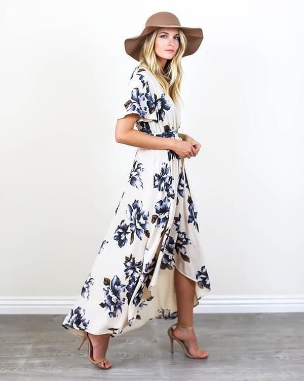 Alluring Blue Bonnet Maxi Dress With High Heels