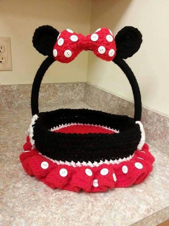 Amazing Crochet Minnie Mouse Shape Easter Basket