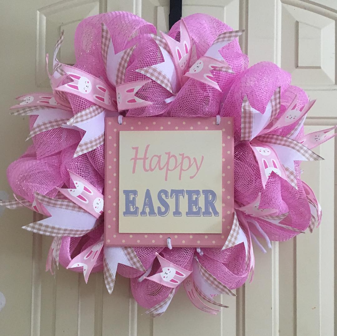 Amazing Pink Net Wreath With Ribbon For Easter Celebration
