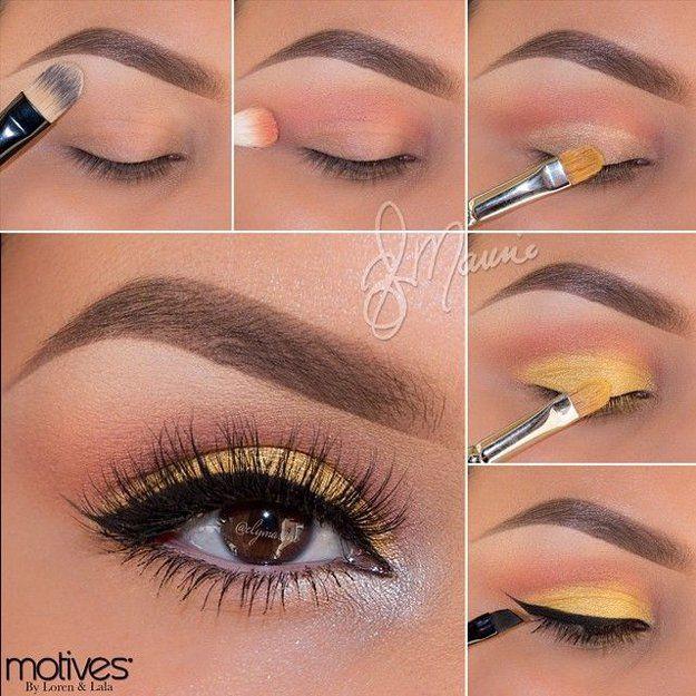 Astounding Yellow Brown Summer Eye Makeup