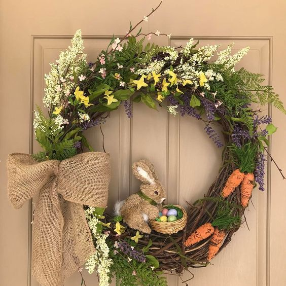 Awesome Natural Floral Wreath With Coming To Life Bunny