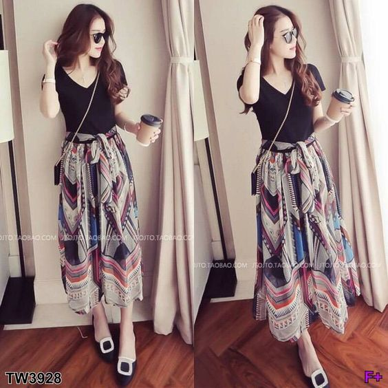 Awesome Vintage Style Mango Cut Chiffon Skirt Of Printed Graphics With Waistline Stitching Straps