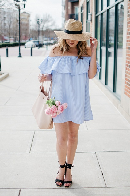 Baby Blue Off Shoulder Spring Dress Paired With Hat, Sunglasses And High Heels