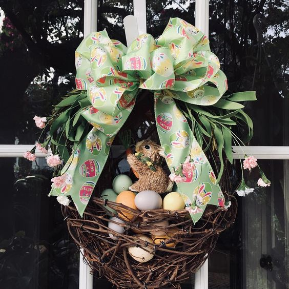 Basket Shape Wreath With Eggs Coming To Life Bunny