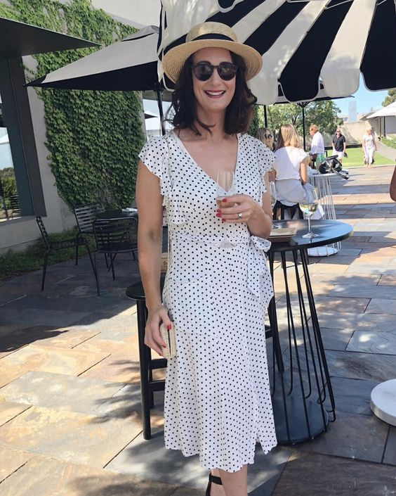 Beautiful Polka Dots Maxi Dress With Ruffle Sleeves And Hat