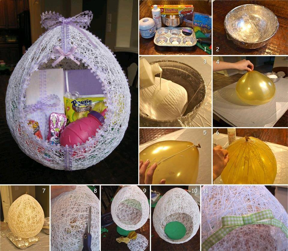 Beautiful Way To Make Egg Shaped Basket From String And Ballon