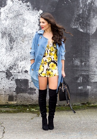 Beautiful Yellow Floral Romper Styled With Trench Coat And Knee Boots