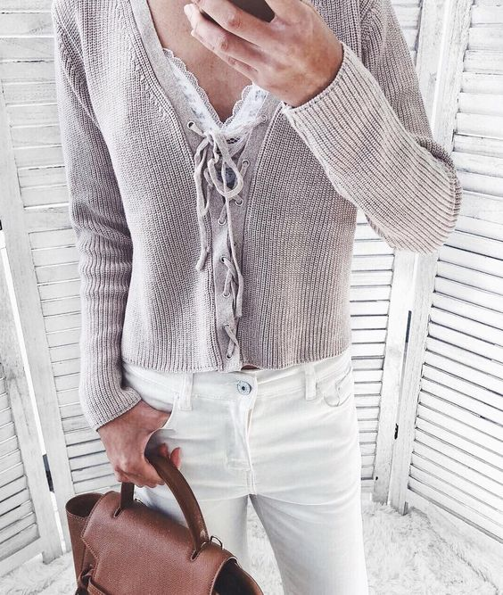 Beige Lace-Up Sweater With White Denim Jeans