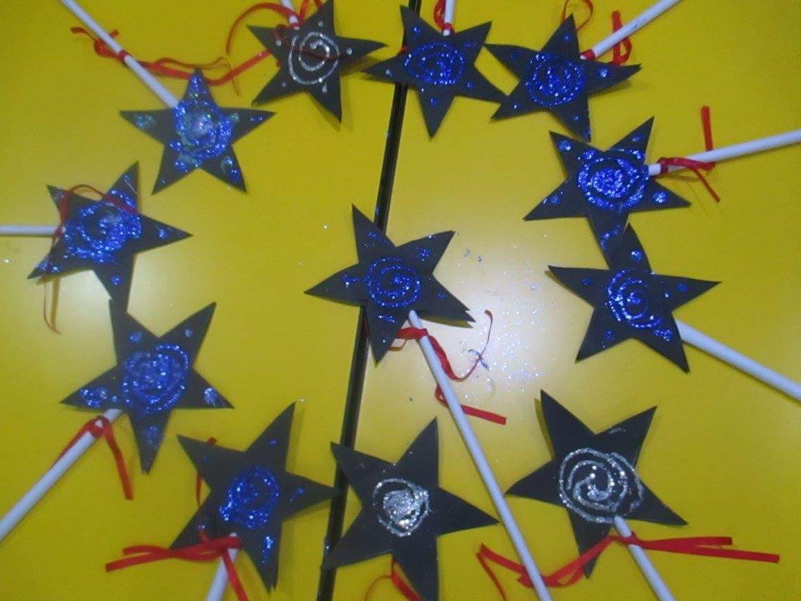 Blue Star Shaped Harry Potter Magical Wands Paper Craft Idea