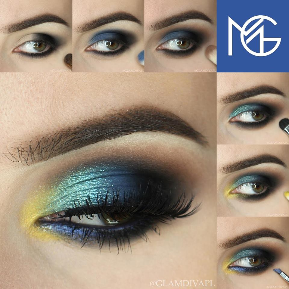 Blues + A Pop Of Yellow Awesome Summer Day Out Eye Makeup Idea