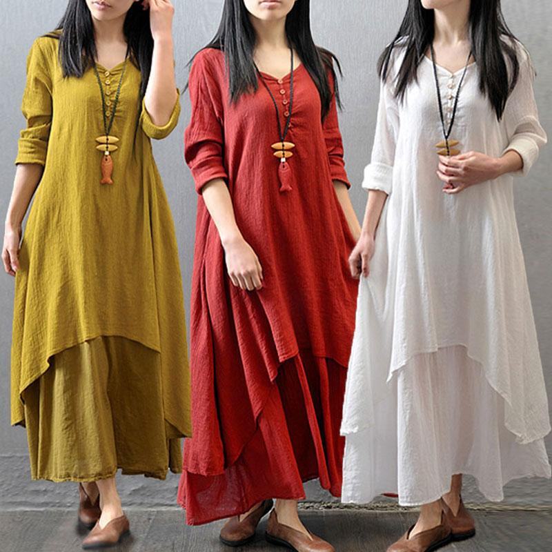 Boho Style Linen Dresses In Different Colors