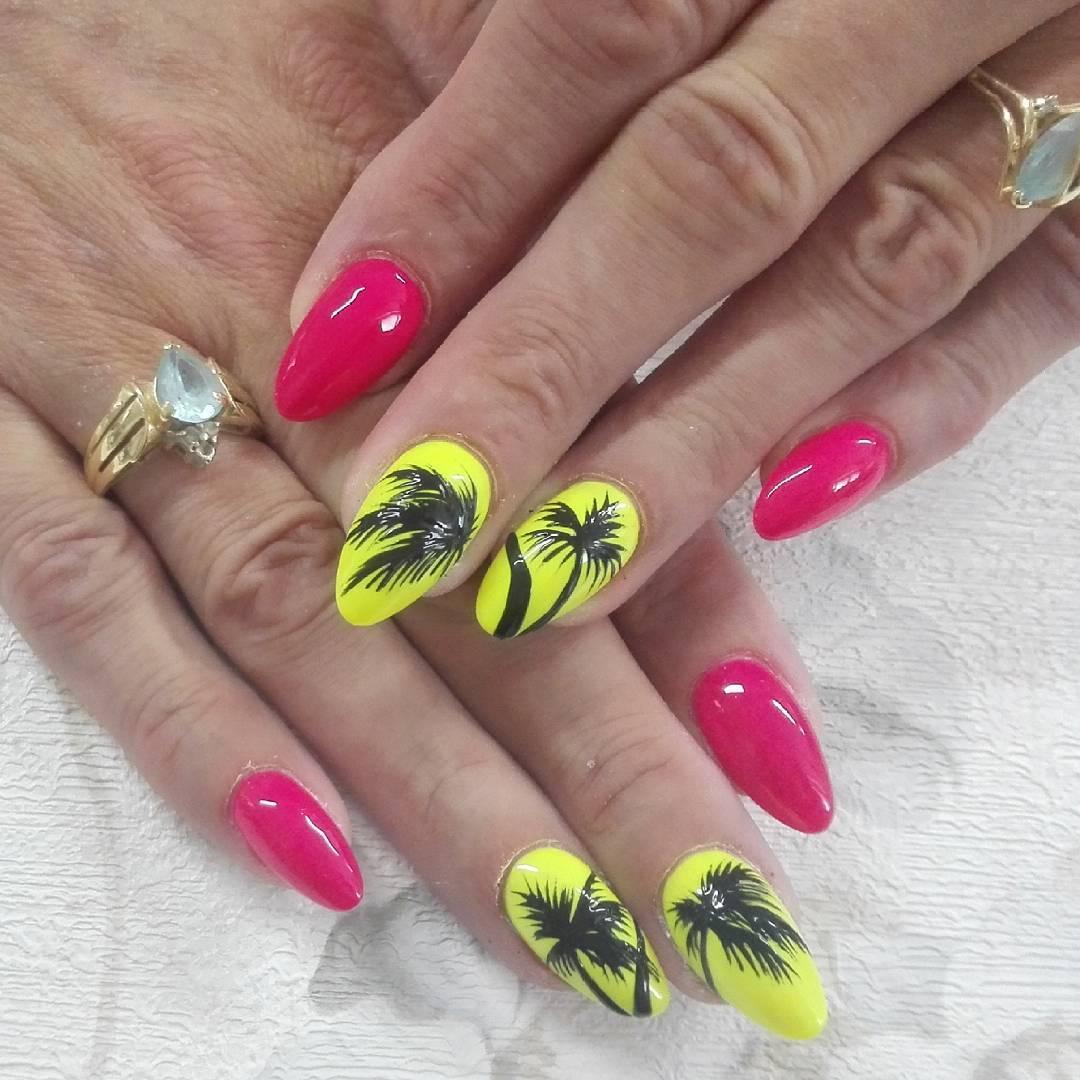 11 Bright Pink And Yellow Nails Via