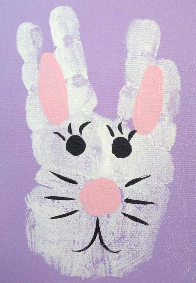 Bunny Hand Print Easy Easter Craft
