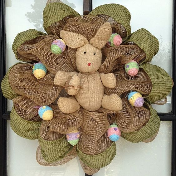 Burlap Wreath For Colorful Easter