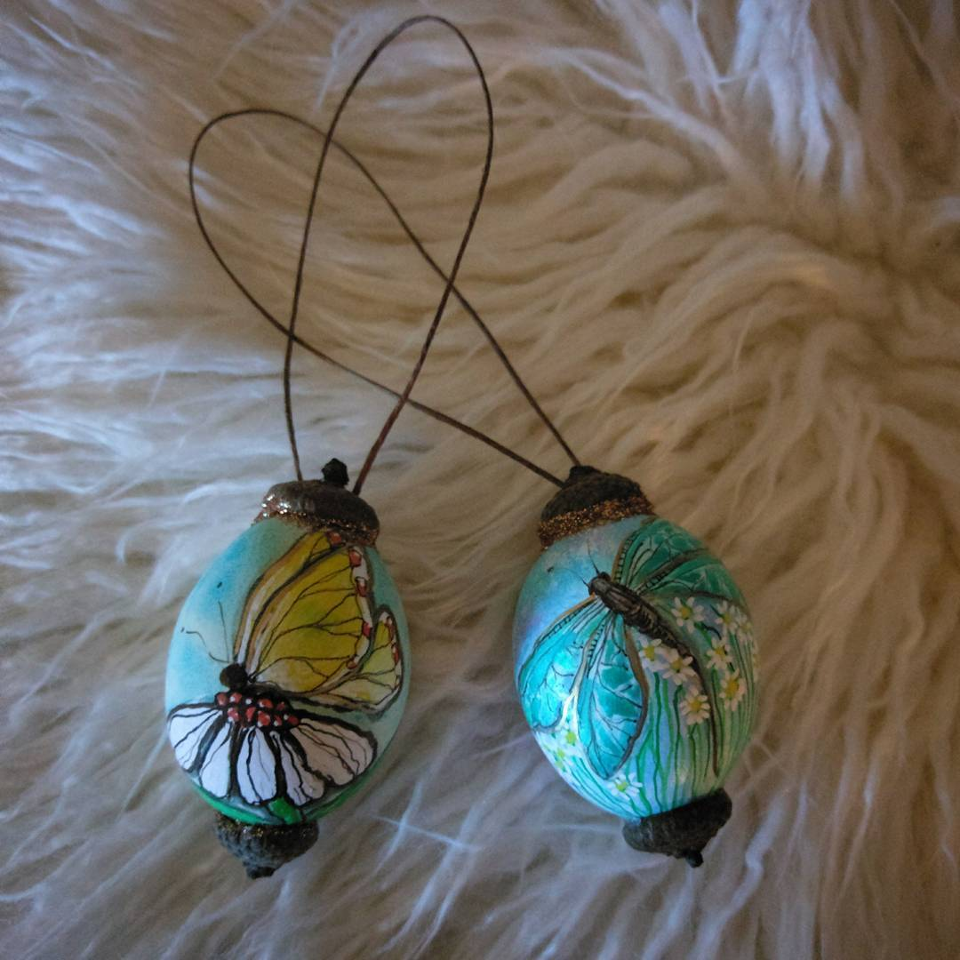 Butterfly Is Painted On Egg