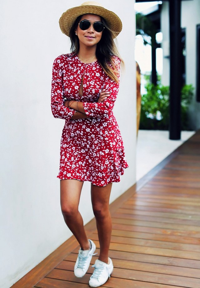 Charismatic Red Floral Print Short Dress With Sneakers