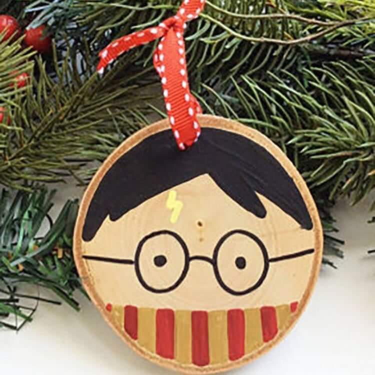 Charismatic Woodslice With Harry Potter Face In Gryffindor Scarf