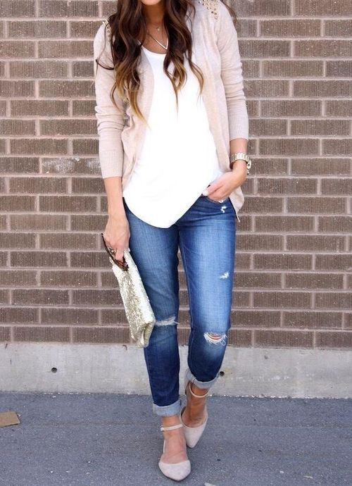 Chic Top, Denim Jeans And Simple Shrug For Spring Fashion