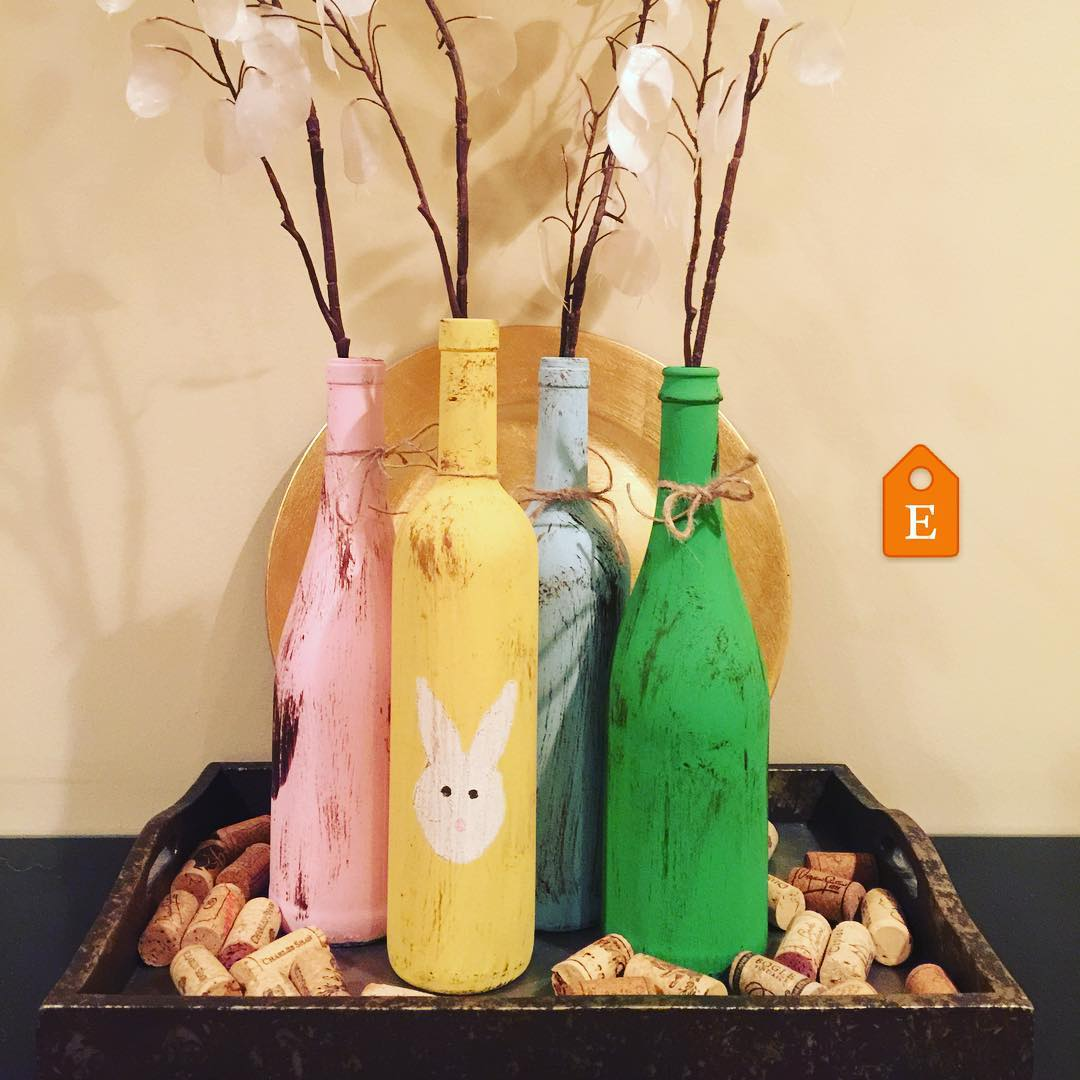 Colored Old Wine Bottles Used To Decorate Home At Easter