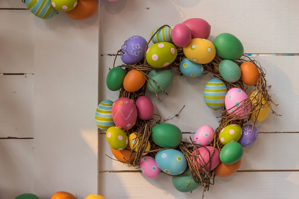 Colorful Decorated Egg Wreath For Easter