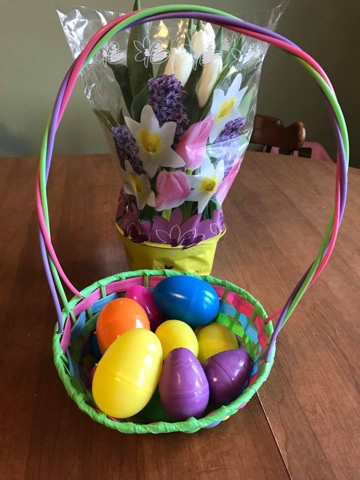 Colorful Handmade Basket With Full Of Plastic Eggs