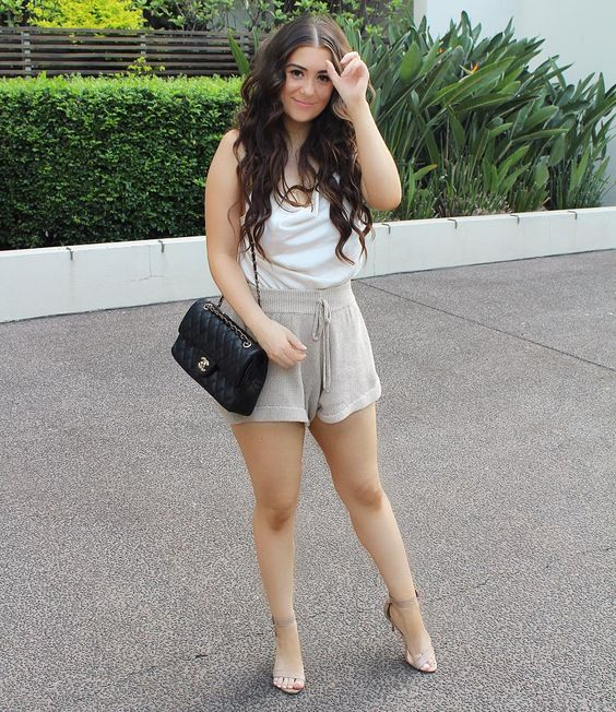Comfortable Shorts With Nude High Heels