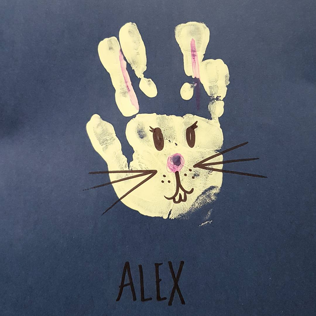 Cool Hand Painting As Bunny For Toddler