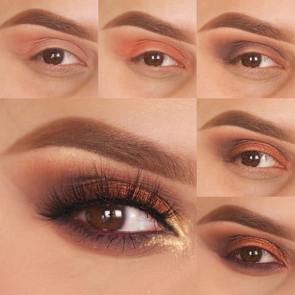 Copper & Gold Sultry Smokey Eye Makeup Step By Step