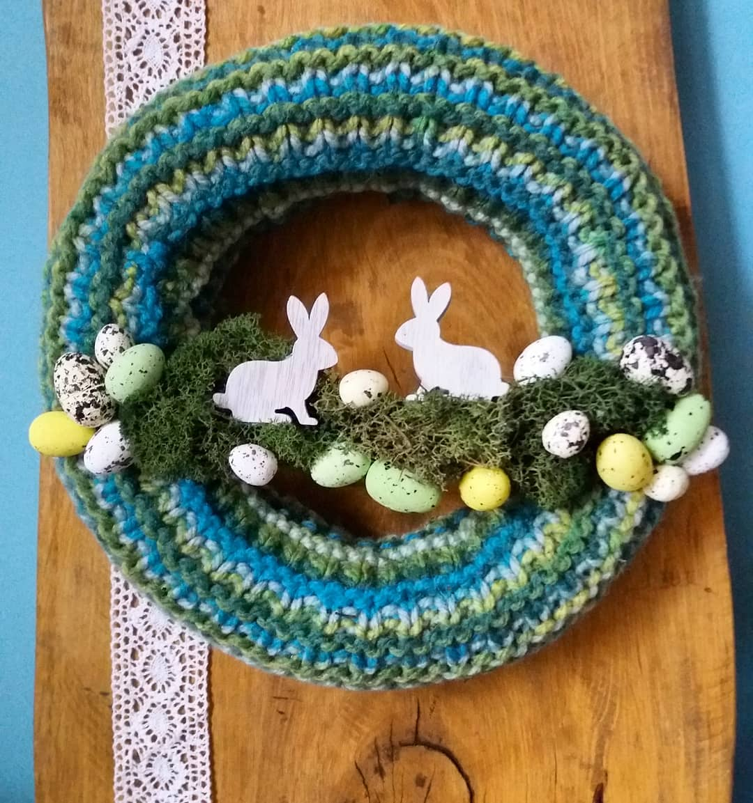 Crochet Knitted Wreath With Eggs And Bunny