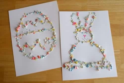 Crushed Egg Shells Using For Making Pictures