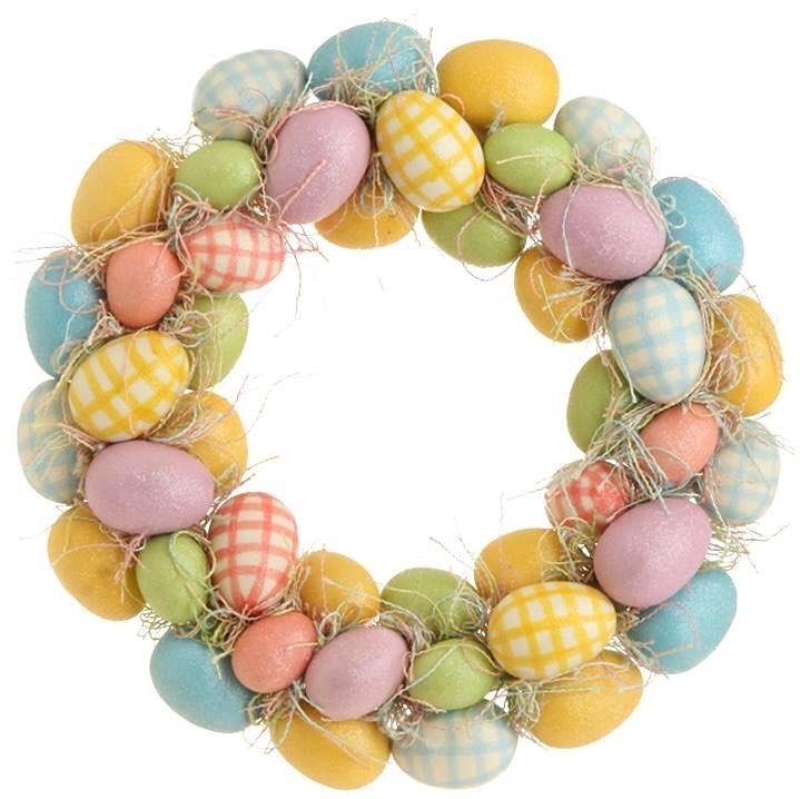 Dashing Gingham Eggs Easter Wreath
