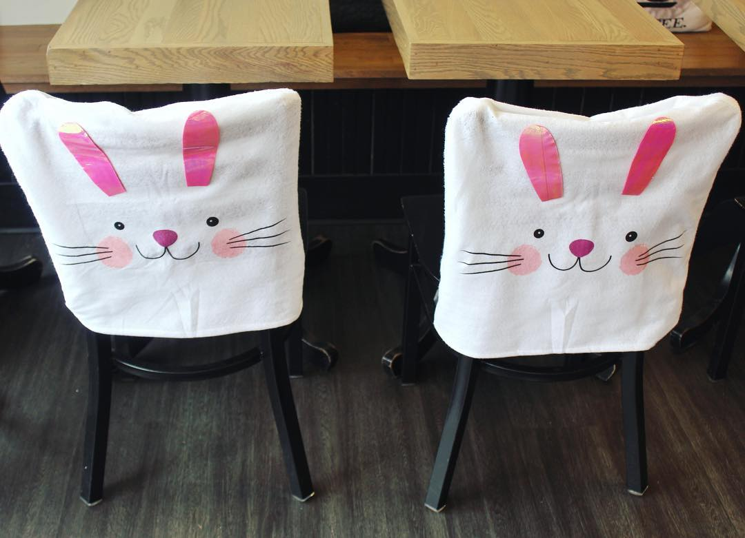 Decor For Easter With Bunny Cover Decorating The Chair