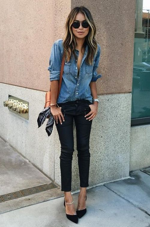 Denim Button-Down Shirt With Skinny Pants And Pointed Toe Heels
