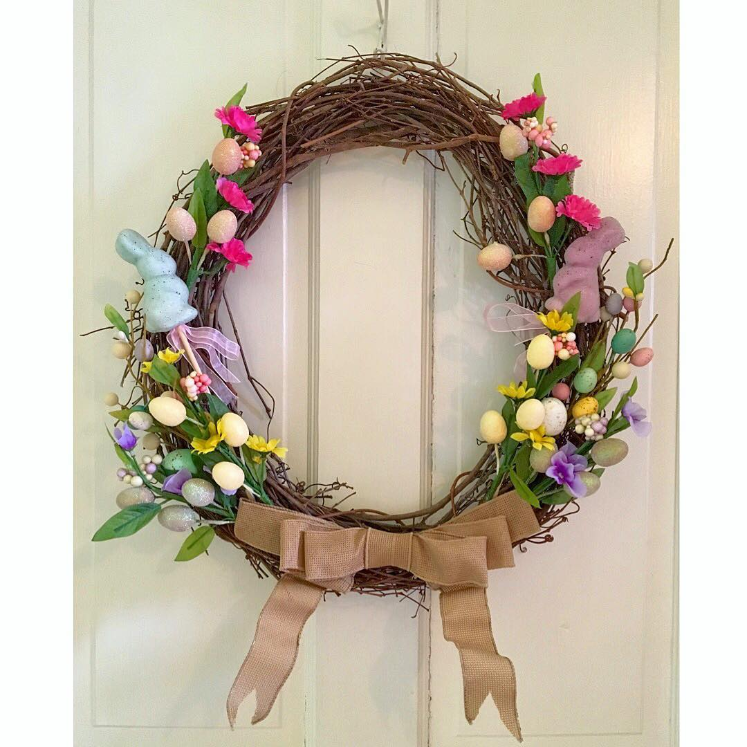 Designed As Egg Wreath For Easter With Ribbon And Bunny