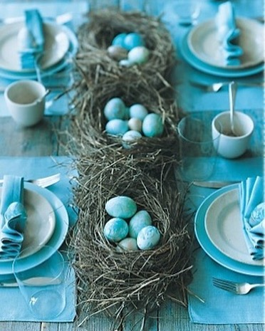 Dinning Is Decorated In Blue Theme